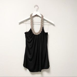 Forever 21 Black Silver Chain Necklace Halter Top